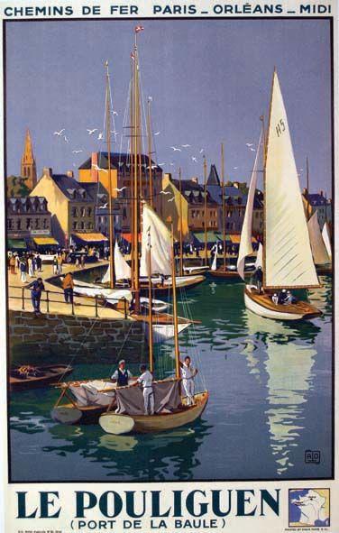 """chemins de fer paris-orléans-midi - Le Pouliguen - 1934 - illustration de Cahrles Hallo dit """"alo"""" - France -"""