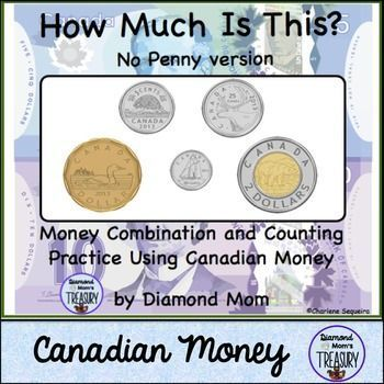 This is an activity to practice working with coins and bills to count and recognize money and different combinations. It includes some samples, some worksheets, and some coins and bills to cut and use for practice. As we no longer issue pennies in Canada,