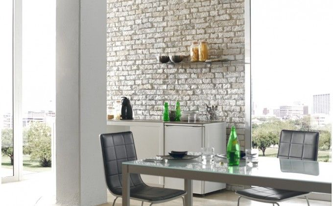 Faux Brick Wall Panels' Decorating Instruction With A Decor That Has A Nice Dining Table