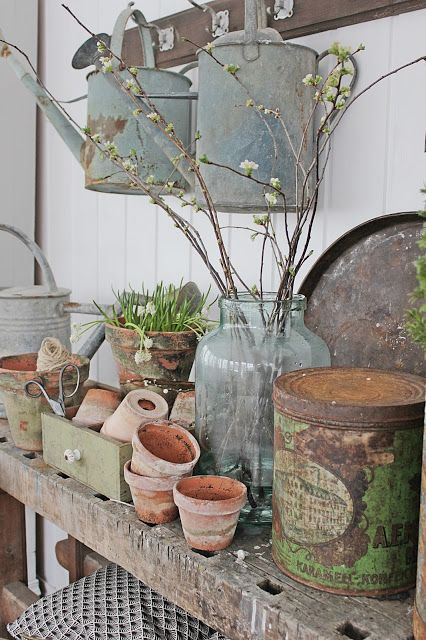 Old worlde vintage potting shed decor