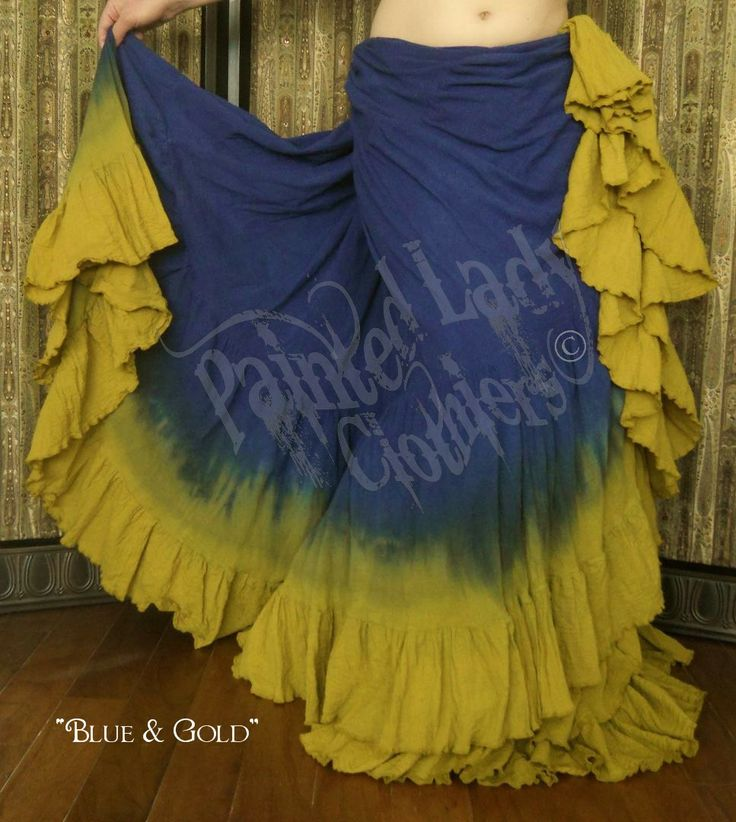 Blue & Gold 25 Yard Petticoat Skirt.    You can order one here:  http://www.paintedladyemporium.com/Shop-Here.html