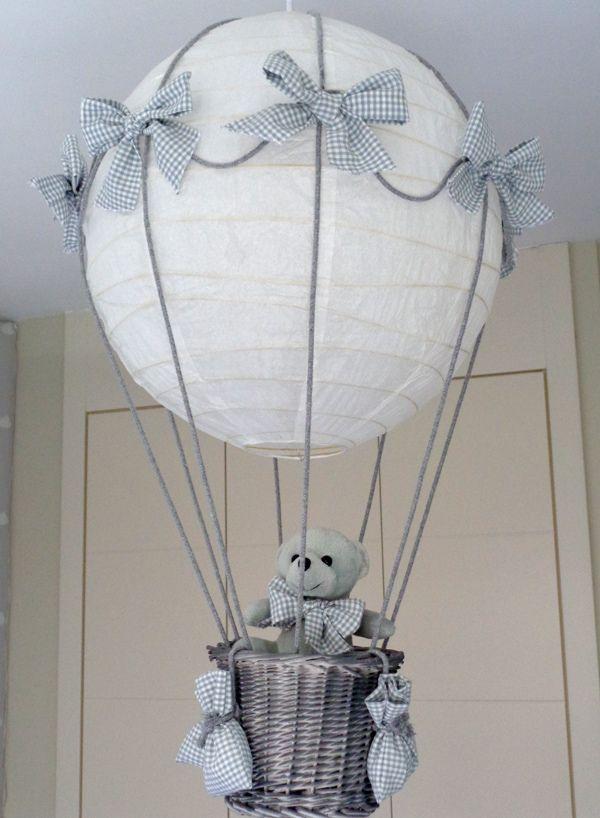 lampara globo aerostatico con osito para bebe hecha a mano