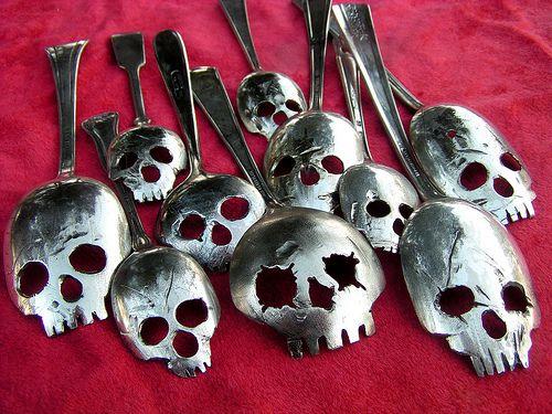 Pinky Diablo's Skull Spoons: Spoon Skulls, Star, Silver Spoons, Pinky Diablo, Photo, Skull Spoons Not, Halloween