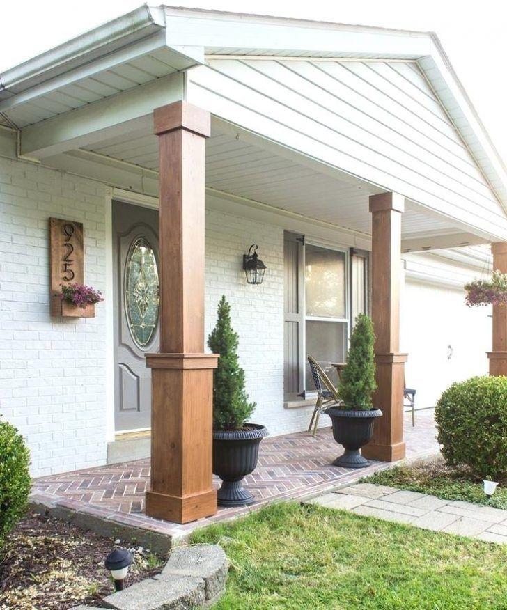 Wood Porch Columns Home Depot Wood Porch Posts Lowes Wood Porch Columns On Concrete How To Wrap Exis Craftsman Style Porch Craftsman Porch Front Porch Makeover