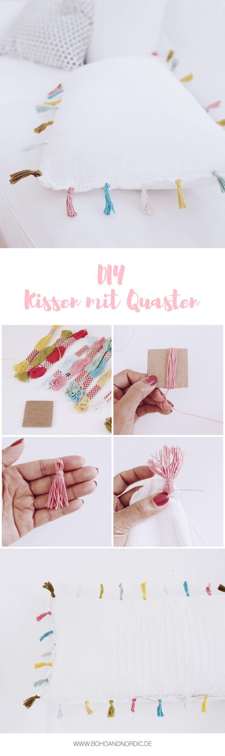 DIY DEKO - Kissen mit Quasten – Ganz schön sommerlich! Super einfach aber super schön. Ein kleines Ikea Hack.
