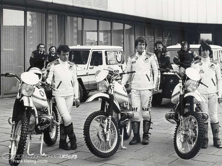 Bernard Neimer, Hubert Auriol and Jean Claude Fenouil pose with the three original BMW works bikes entered in the Paris to Dakar race by BMW France.