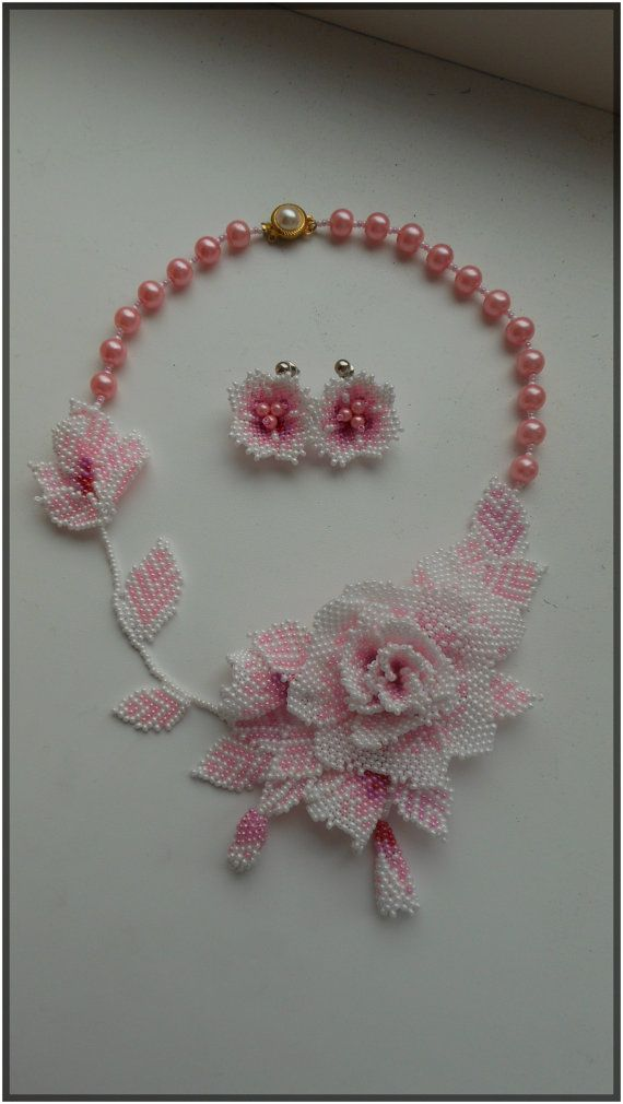 Set Beaded Delicate Rose by BeadedJewelryVirunia on Etsy. //  ♡ THAT ROSE IS GORGEOUS!!!  ♥A