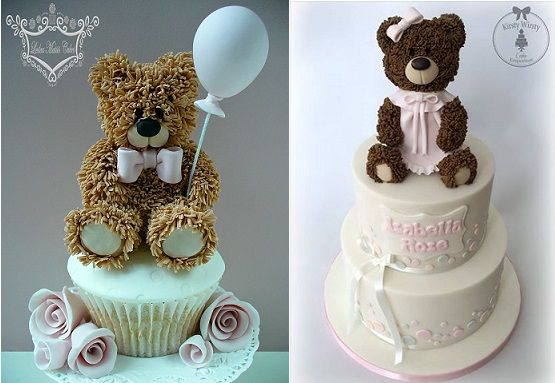 vintage teddy bear cakes by Leslea Matsis left, Kirsty Wirsty Cake Emporium right