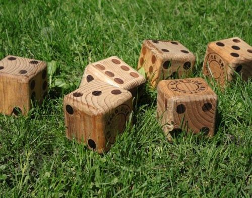 Wooden Yard Dice   Play Yahtze, Bunco And Other Games Outdoors! We Could  Make These In A Large Size That Kids Could Roll Around, Use For Seats Or  Games.