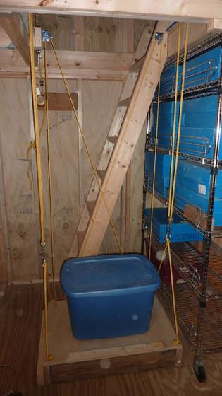 An elevator for maximum storage.    This is freaking AWESOME.  @Jason Frantz, I know we probably don't want to cut a hole in the top of the garage ceiling, but the idea is absolute genius. Dad could probably use this!