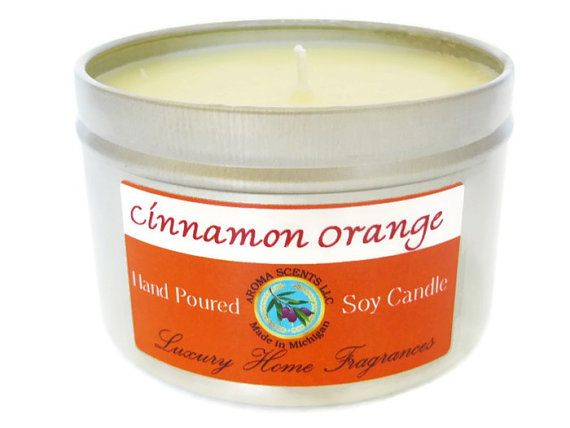 Cinnamon Orange Soy Candle  soy candles  Fall by AromaScentsLLC