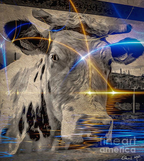 Fine Art depicting a cow in abstract and Hinduism. It is based on the concept of omnipresence of the Divine, and the presence of a soul in all creatures, including bovines.  Cattle are considered sacred in various world religions, most notably Hinduism, Jainism, Buddhism, as well as the religions of Ancient Egypt, Ancient Greece, and Ancient Rome.