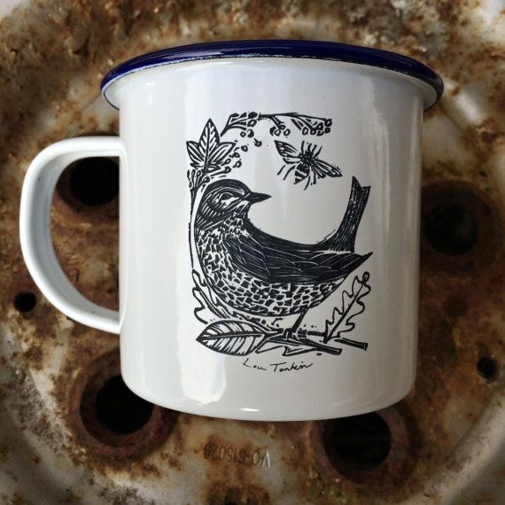 Etched enamel mug Garden Bird design by Lou Tonkin