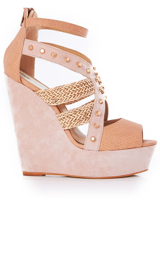 Trendy and a must buy as there comfy and very fashionable too. A browny pair of wedges with gold colour studs and patterns around the front
