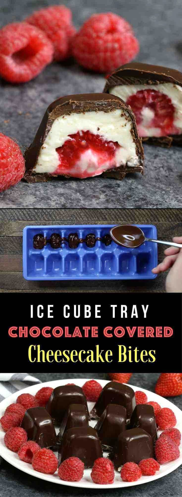 A recipe for cheesecake bites using an ice cube tray