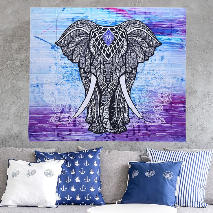 Dorp Shipping Elephant tablecloth Round Mandala Indian Hippie Boho Wall Hanging Beach Throw Towel Mat Blanket with Tassels