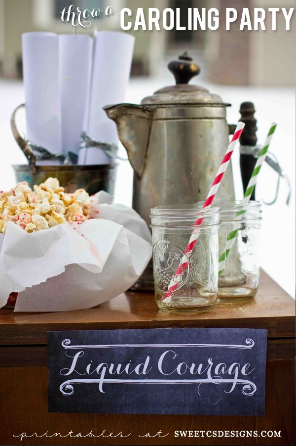 Throw a caroling party- this is such a fun idea! Carols printables + decor tips included!