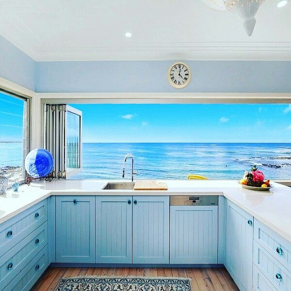 Blue kitchen with a view