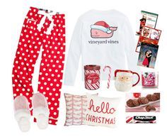 """A Christmas Sleepover"" by preppinlove ❤ liked on Polyvore featuring Martha Stewart, Hershey's, R.H. Macy & Co., Chapstick, Victoria's Secret, women's clothing, women's fashion, women, female and woman"