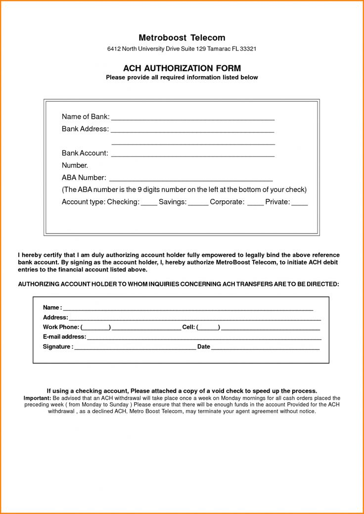 Browse Our Sample of Ach Deposit Authorization Form