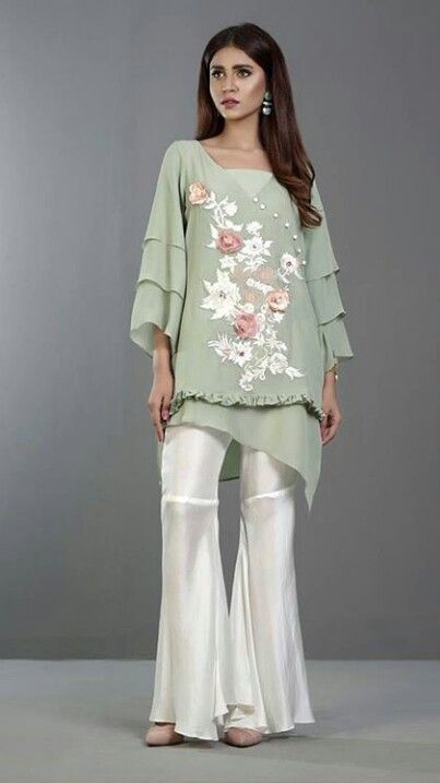 Shine This Summer in our Stunning Mint Chiffon Shirt Paired with Vintage Floral Embroidery with 3D Flowers in Ivory and Pink with Swarovski Embellishments. #Gorgeous #EidCollection17 #ZainabChottani #LuxuryPret #FormalWear #SummerCasual #SummerOutfits #ReadyToWear #EidUlFiter2017 #PakistaniFashion #PakistaniModels #PakistaniCelebrities