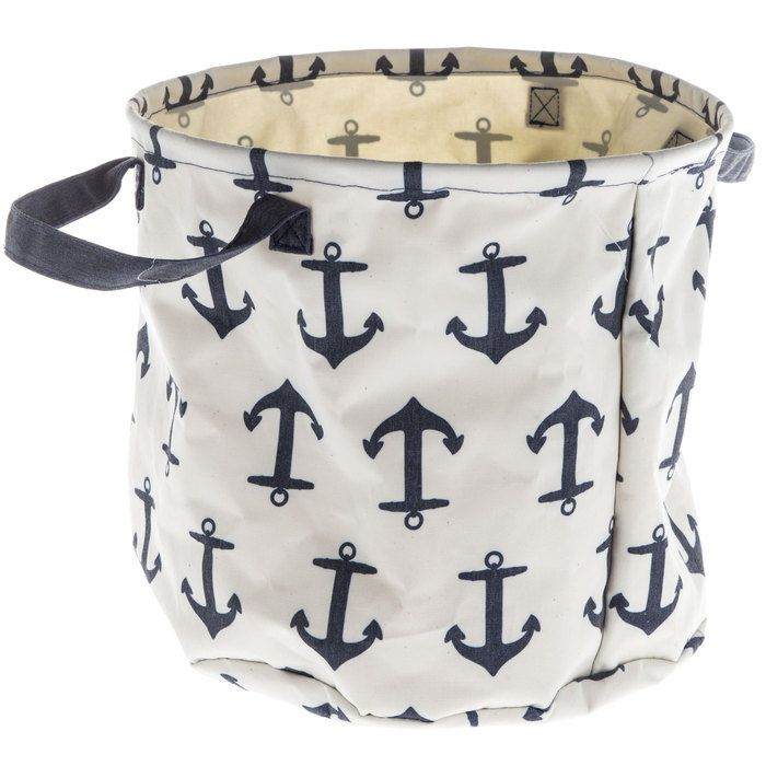 Blue Anchor Print Collapsible Bin