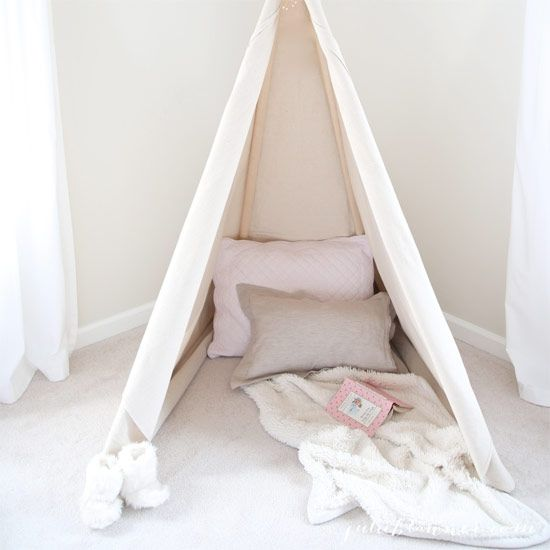Learn how to make a DIY teepee, a fun and beautiful accent to any child's room. Easy, inexpensive, and fun for all ages!