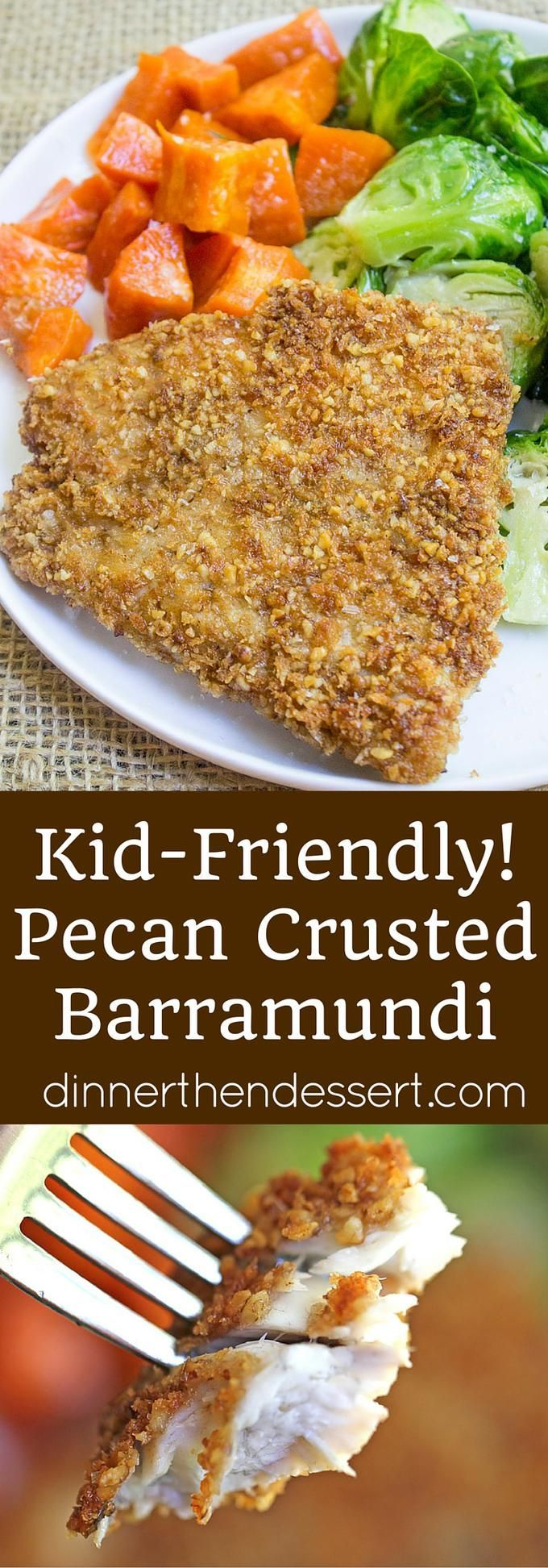 Pecan Crusted Barramundi is a breeze to make with a mixture of pecans and panko, this flaky white fish shines with just a few minutes of prep! TheBetterFish AD: