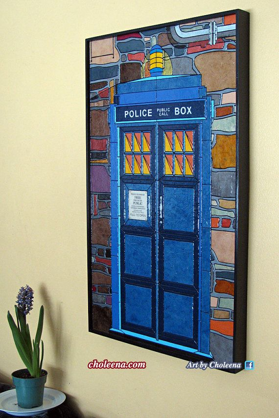Police Call Box  Dr Who  Paper Tile Mosaic  by ArtByCholeena, $540.00