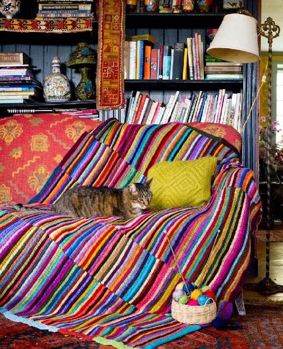 Scrap Yarn Afghan - Another Sneak Peek from Crafting A Colorful Home + a Color Lesson