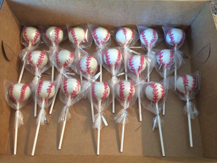 Baseball cake pops for tee ball game :)