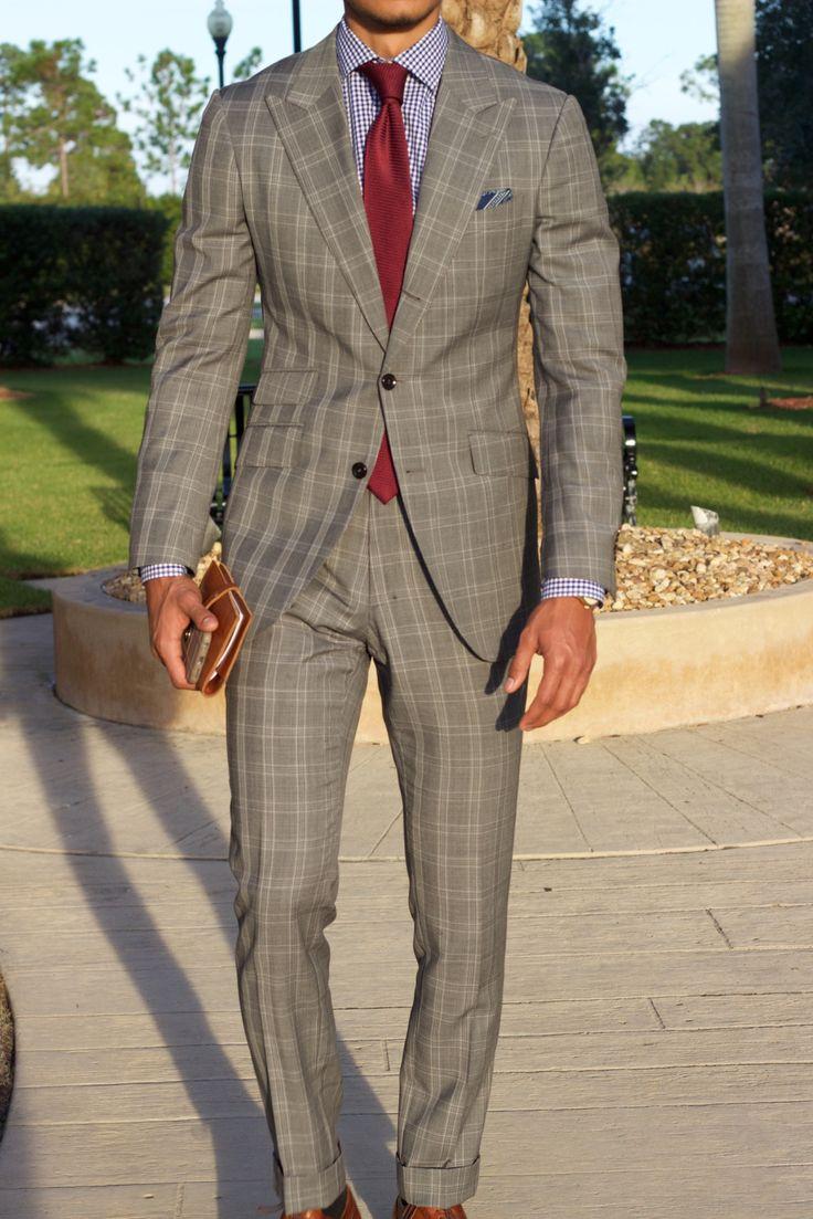 Grey gingham suit, navy/white gingham dress shirt, burgundy silk tie