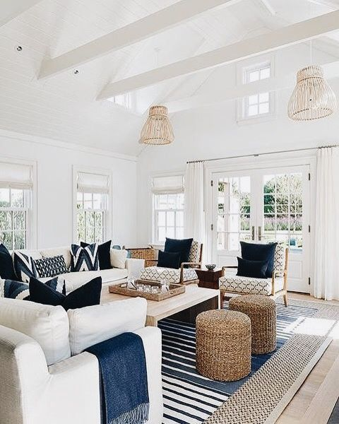 white and blue cottage living room features white slipcovered sofas adorned with blue pillows and blue fringe throw blankets facing a blond wood waterfall - White Living Room Ideas Pinterest