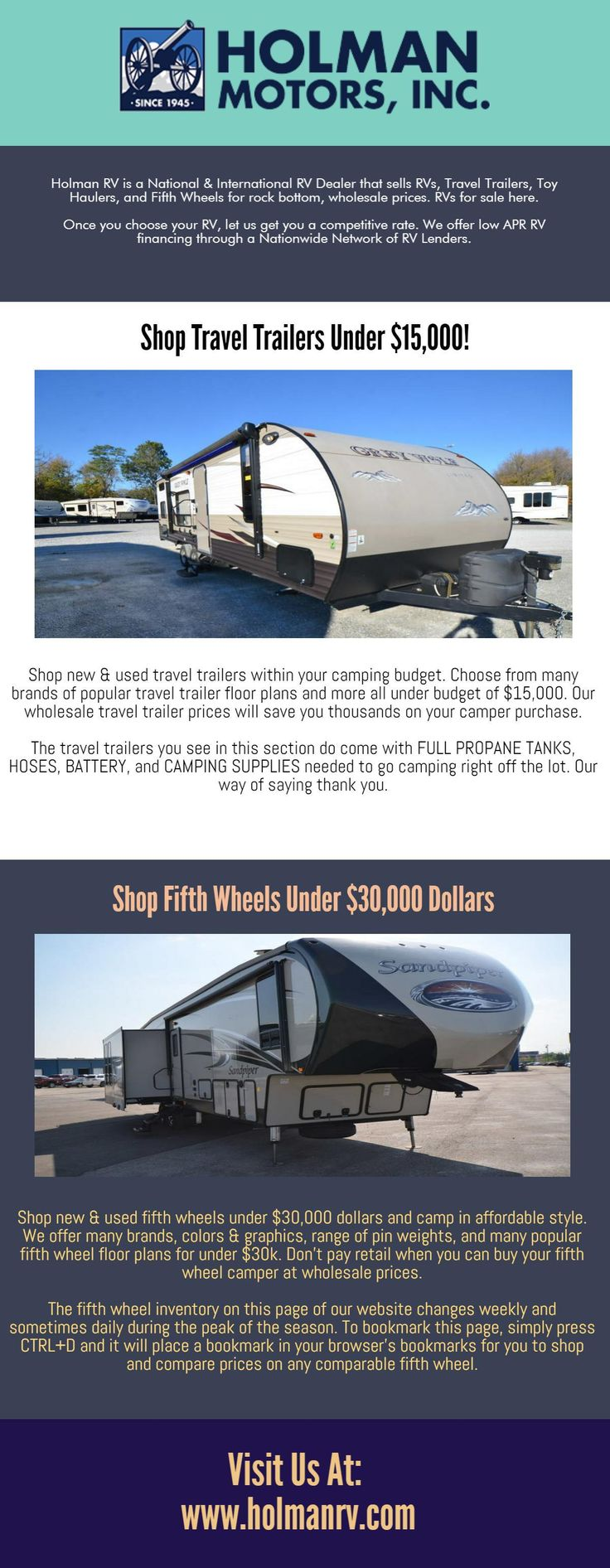 Holman RV is a National & International RV Dealer that sells RVs, Travel Trailers, Toy Haulers, and Fifth Wheels for rock bottom, Lance Campers, wholesale prices. RVs for sale here. HolmanRV is also a REDEX dealer, which is a nationwide network of some of the best RV Dealerships in the country. What this means to you is that you will have a nationwide networks of dealers behind you when you travel in your RV.We believe in giving you the best pricing up front.