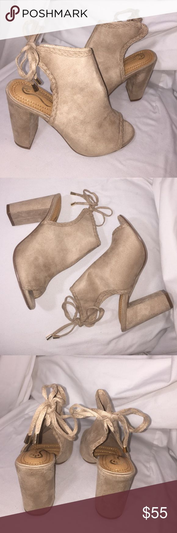 Open toe booties Size 7 tan open toe booties, lace up back with gold lace tips & braided trim detail. Very soft suede/microfiber feel. (Also available in black) elegant collection Shoes Ankle Boots & Booties