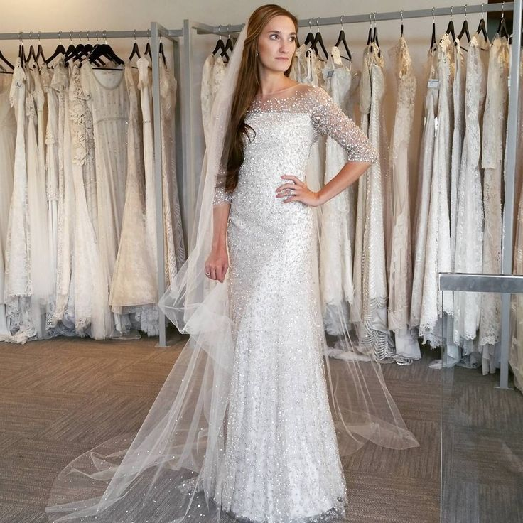 Chances are you can still find a designer gown to suit your needs. This dress was made by Jenny Packham.
