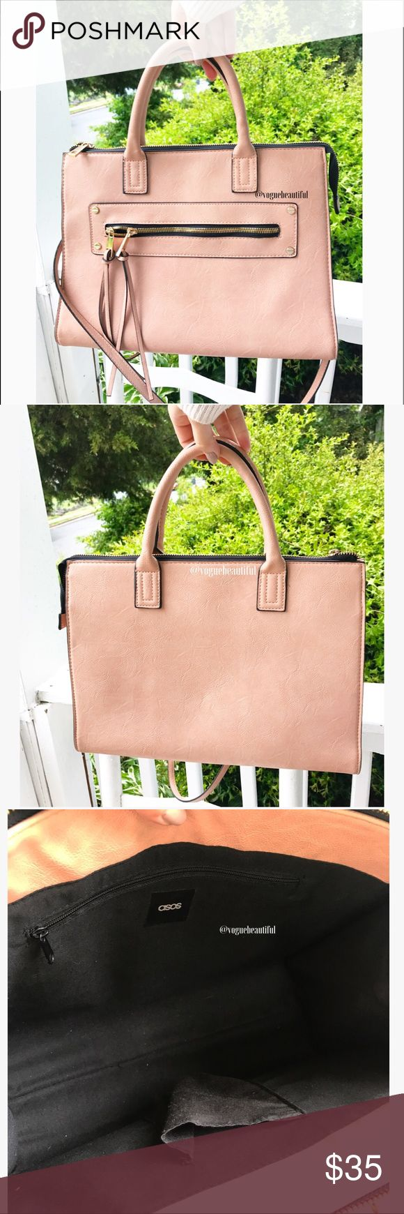 ASOS Structured Bag Gorgeous ASOS structured bag - pinky nude color (color will vary slightly from photos) & purposely distressed  - excellent preloved condition with minimal to no signs of wear - DIMENSIONS: 12.75 inches across x 9.5 inches in height - zip closure - includes longer shoulder strap - !!NO TRADES!! ASOS Bags Totes