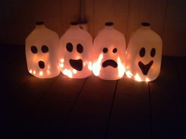 Halloween Milk Jug Ghosts