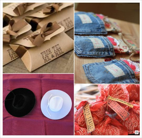 decoration mariage western country pochon dragées jeans etui carton ...