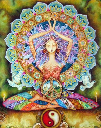 Om Shanti, Shanti, Shanti is an invocation of peace.  In the tradition of yoga, it is repeated three times at the end of a practice to symbolize peace within ourselves, peace with all of the earth, and peace with all that is beyond the earth.