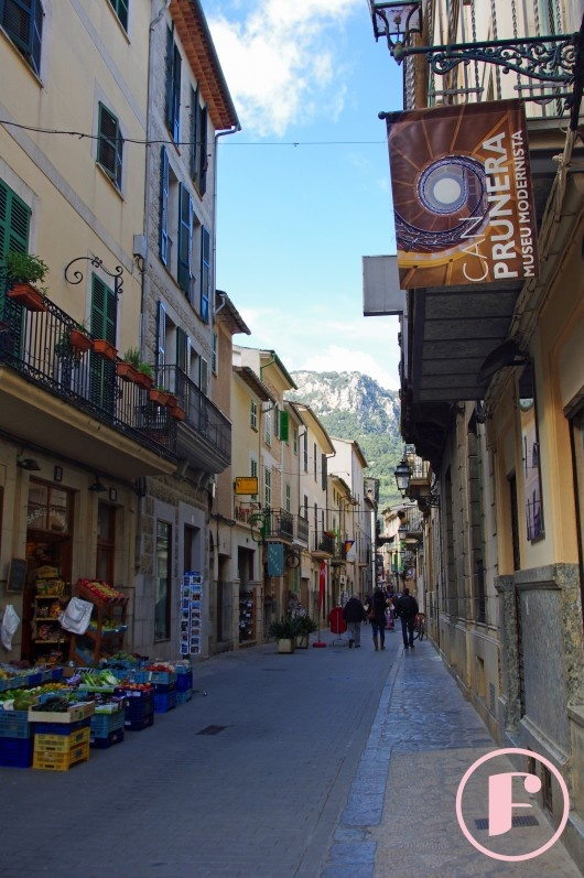 Calle de la Luna. The main shopping street just of the square in Soller, Spain