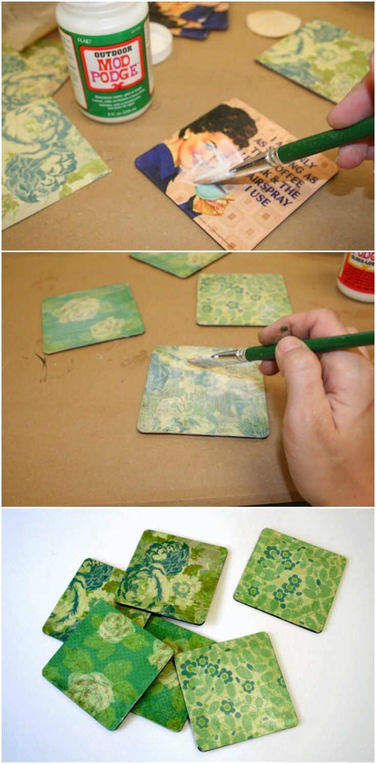 This coaster craft is one of the easiest Mod Podge projects that you can do - and this method works for all types of coasters, including wood and tile. via @modpodgerocks