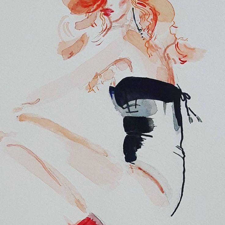 Have a dirty dreams tonight. Like I do.  - detail from fashion illustration by Karolina Niedzielska