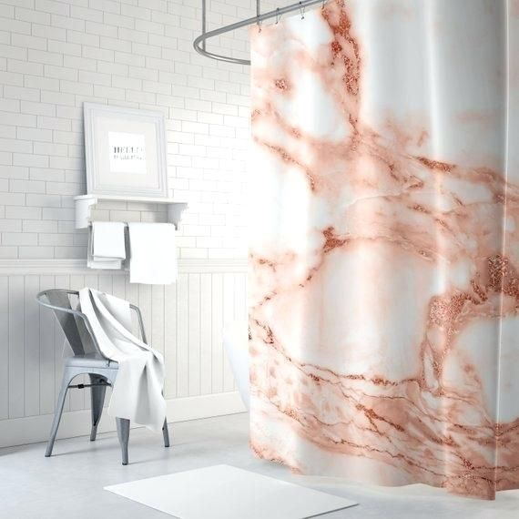 Marble Shower Curtain Rose Gold Bathrooms Marblebathroom