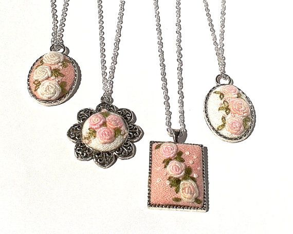 Gift set of 4 Mismatched Shabby floral hand embroidered pendant necklaces, bridesmaid set