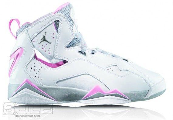 Girls Jordan TruFlt Wht MetSil WlfGry PerfPnk 570x395 Jordan Brand Boys & Girls Footwear for 2010