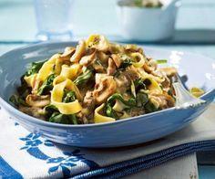 Nudeln in Spinat-Pilz-Soße Rezept, Als Sahneersatz nehme ich Kokosmilch (DM/Rossmann)