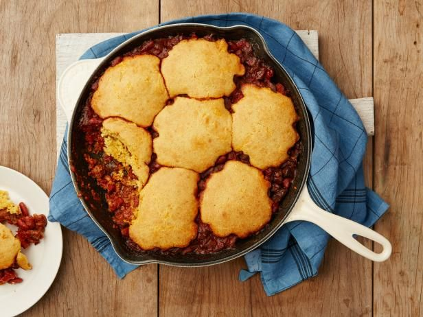 Get Food Network Kitchen's Cornbread Topped Cast-Iron Skillet Chili Recipe from Food Network