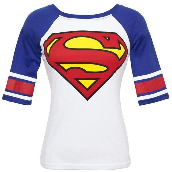 Superman Logo Juniors White Hockey T-Shirt (X-Small) ($18) ❤ liked on Polyvore featuring tops, t-shirts, shirts, blusas, white t shirt, logo tops, logo tee, white tee and white top