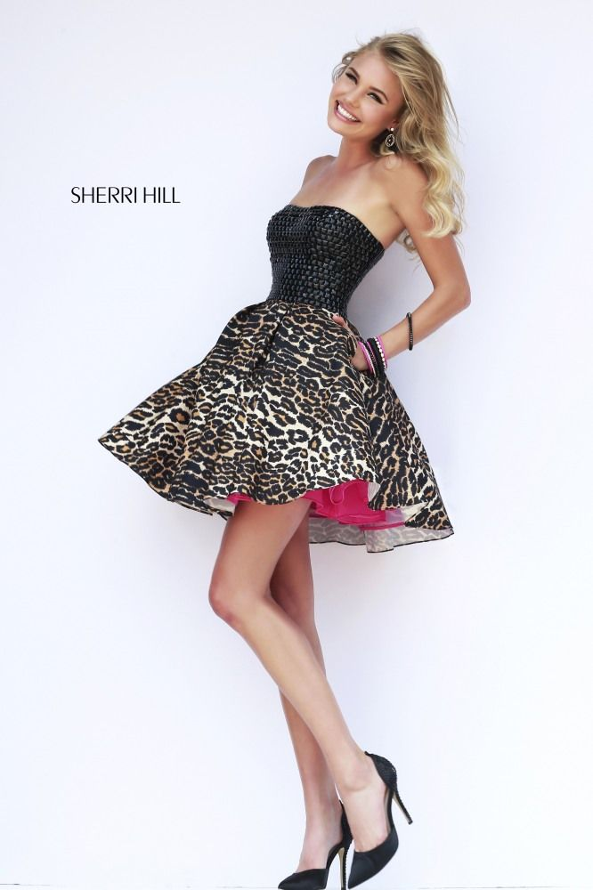 Stand Out Hair Designs Peak Hill : Sherri hill short leopard prom dress with black